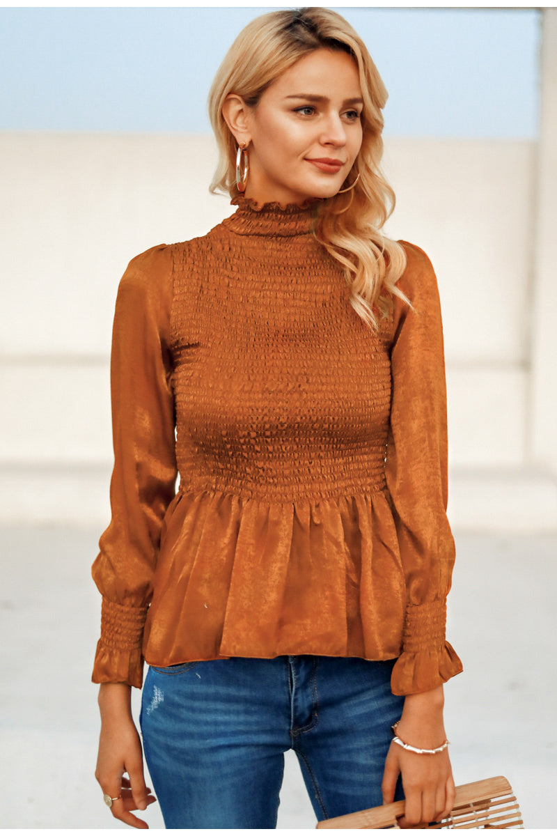 Elegant Flare sleeve ruffle pleated peplum top