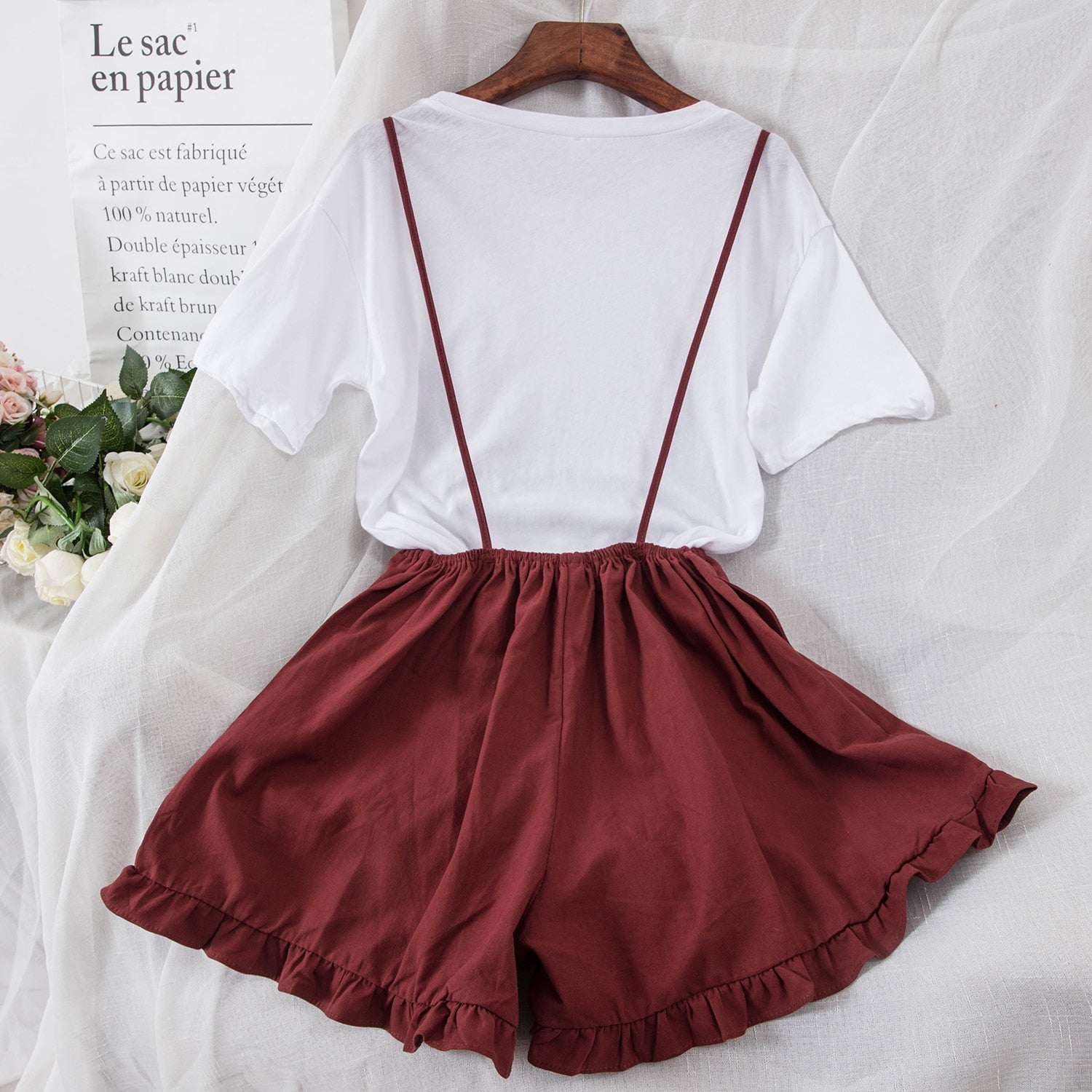 T-shirt + Suspender Wide Leg Shorts Two-piece Female Shorts Set