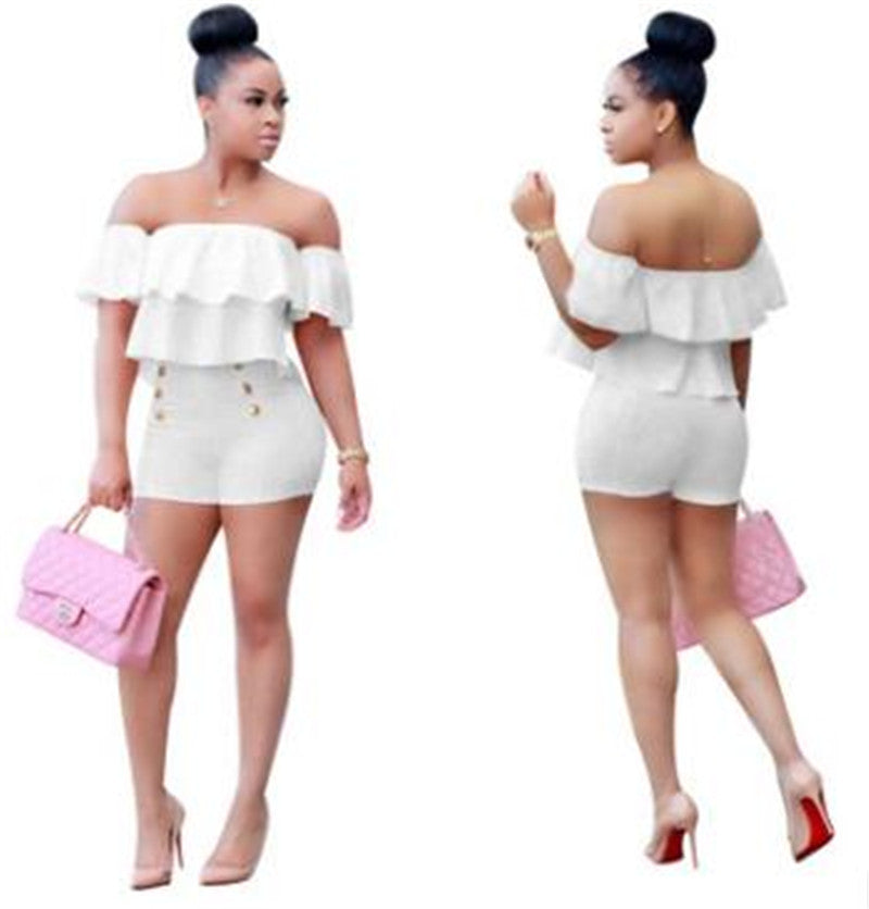 Two Pieces Set Women Ruffles Crop Top And Shorts Bodycon Bodysuit
