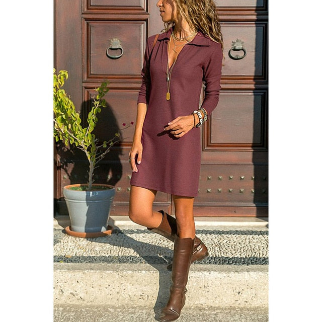 neck Knit Sheath Dress