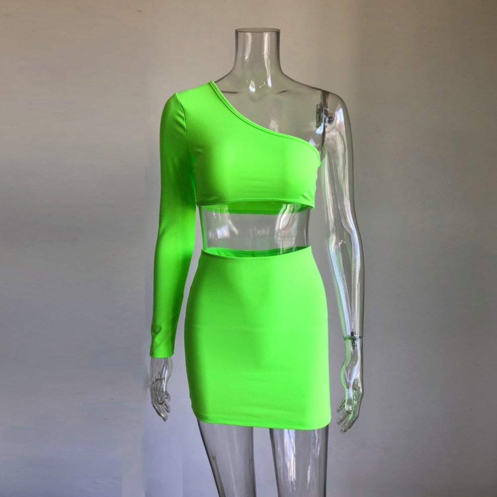 women sets one shoulder orange and green two pieces sets