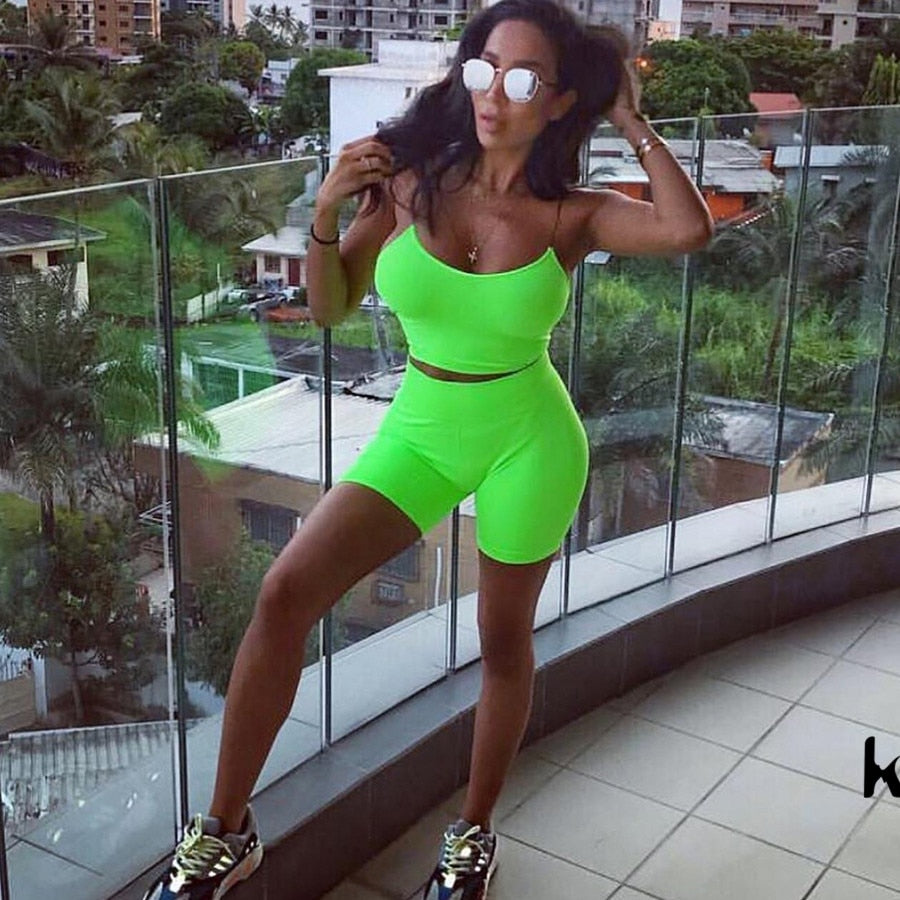 two pieces set Fluorescence solid sexy strapless crop camisole top elastic high waist shorts