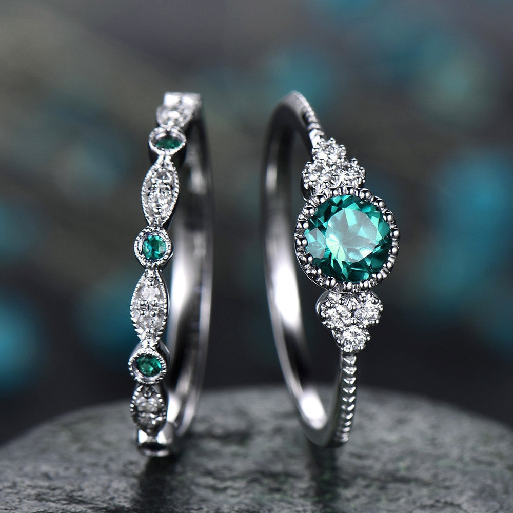 EMMA - 2Pcs/Set Luxury Green Blue Stone Crystal Rings