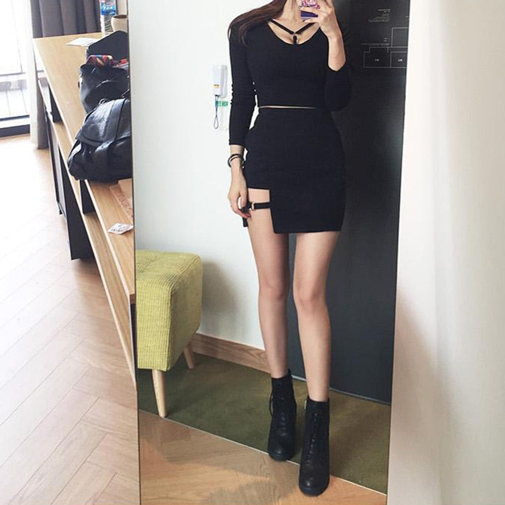 Black Hip Irregular Micro Mini Skirt