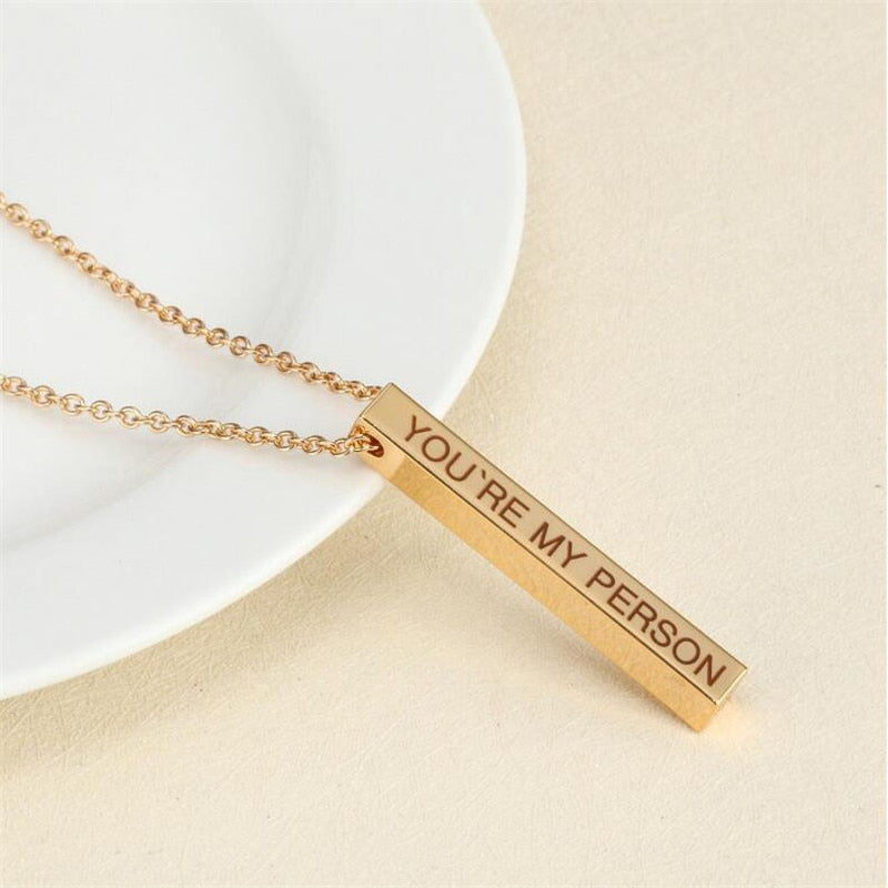 Four Sides Engraving Personalized Square Bar Custom Name Necklace