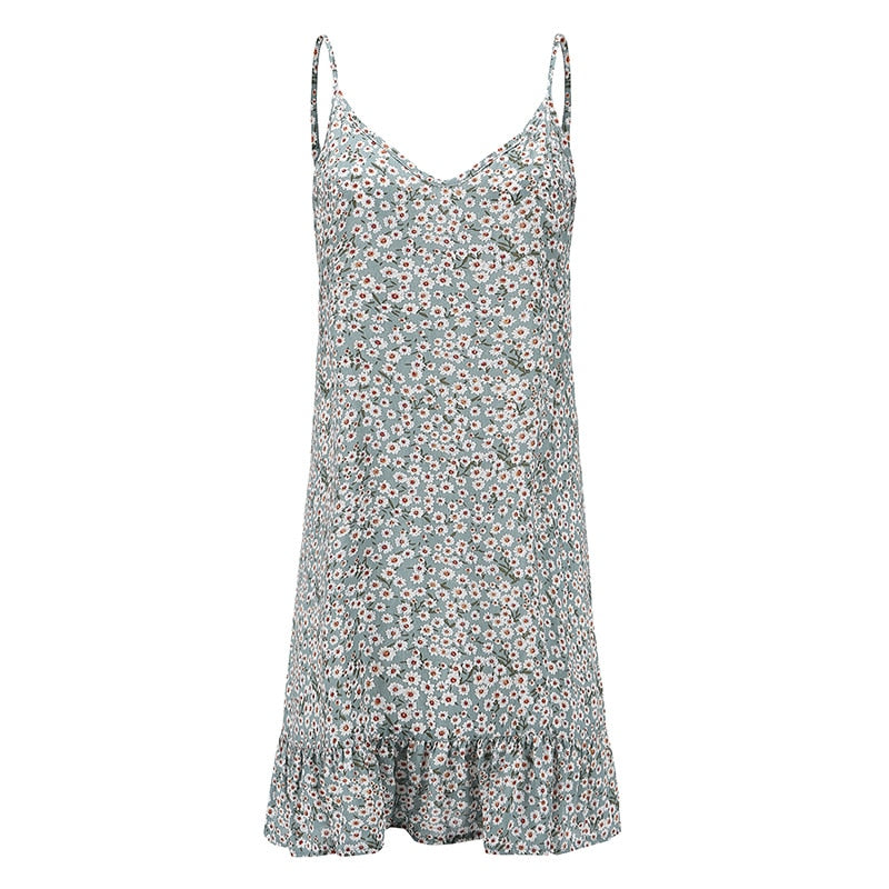 Floral  Sleeveless Spaghetti Strap Mini Dress