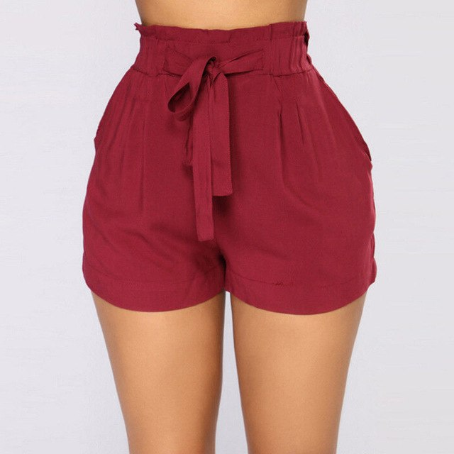 High waist Shorts Elastic  Belt Bandage Solid Shorts