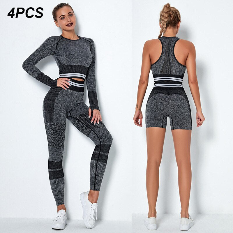 4Pcs Women Vital Seamless Yoga Set Sports Bra+Crop Top Shirts+Shorts+High Waist Leggings Gym Clothing Sports Wear