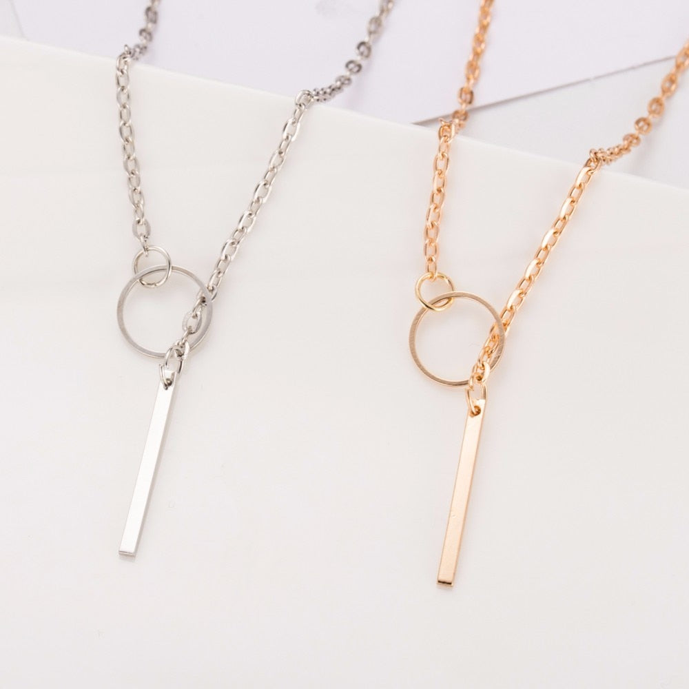 Gold Silver Metal Chain Bar Circle Lariat Necklace