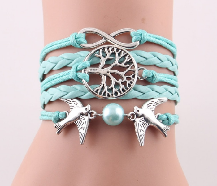SCARLET- Infinity Tree flying birds charm Imitation Pearl Leather braclet