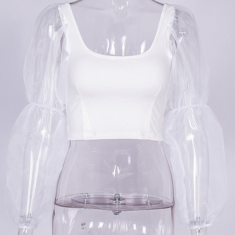 Mesh Spliced Puff Sleeve  Tops