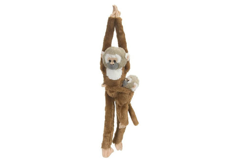 Hanging Squirrel Monkey with Baby Stuffed Animal - 20""