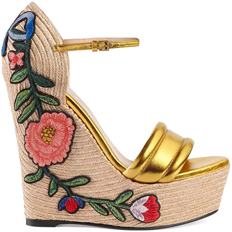 NEW Gucci Espadrille 160 Wedges Gold Leather Floral Embroidered 37.5