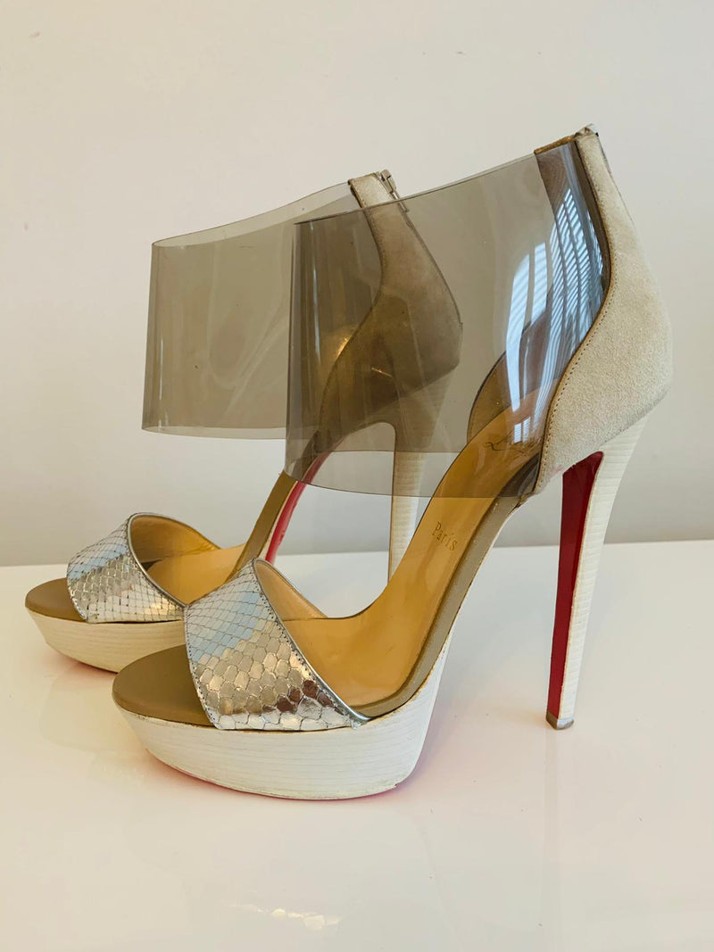 Christian Louboutin Dufoura 140 Silver Leather Suede PVC Platform Sandals 39