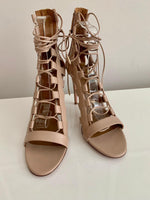 NEW Aquazzura 110 Amazon Nude Leather Lace Up Pumps 41