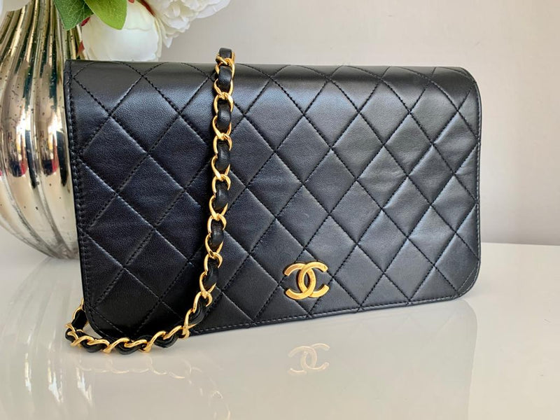 Chanel Black Lambskin Full Flap Vintage Shoulder Crossbody Bag