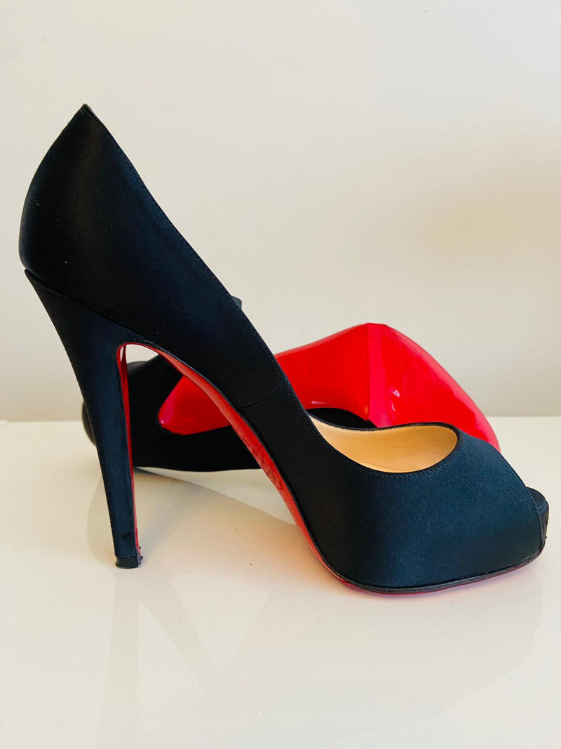 Christian Louboutin Very Prive 120 Black Satin 37