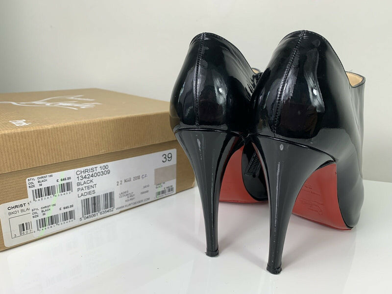 Christian Louboutin Christ 100 Black Patent Peep-toe Booties 39