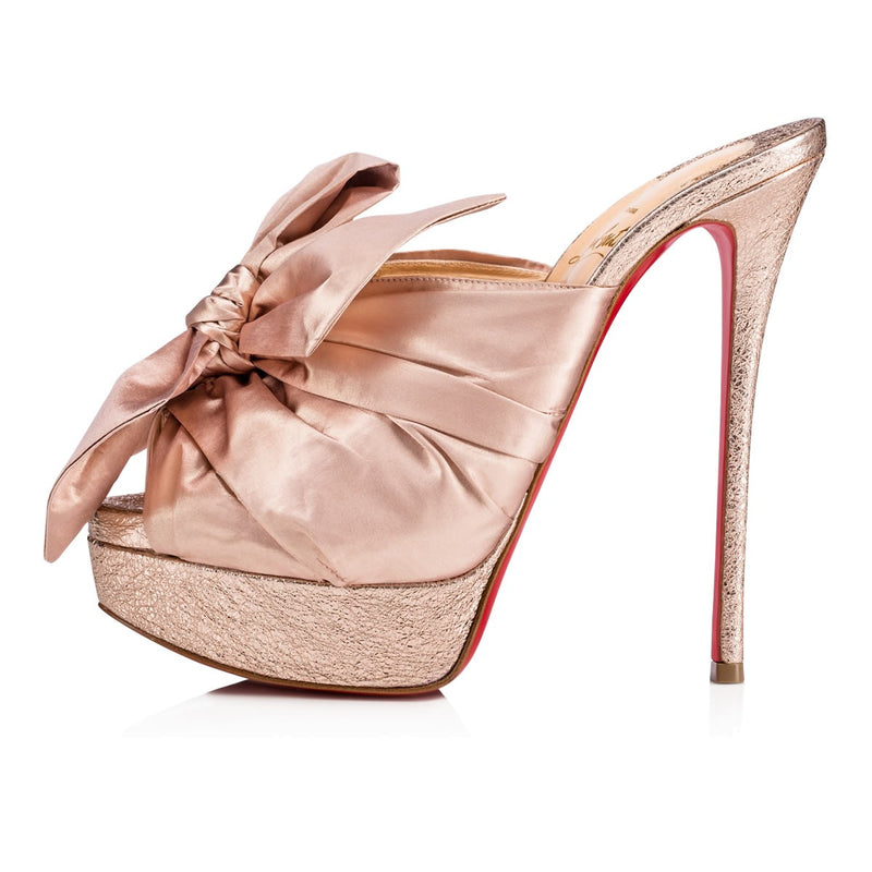 NEW Christian Louboutin Moniquissima 150 Rose Gold Bow Backless Mule Platform 37
