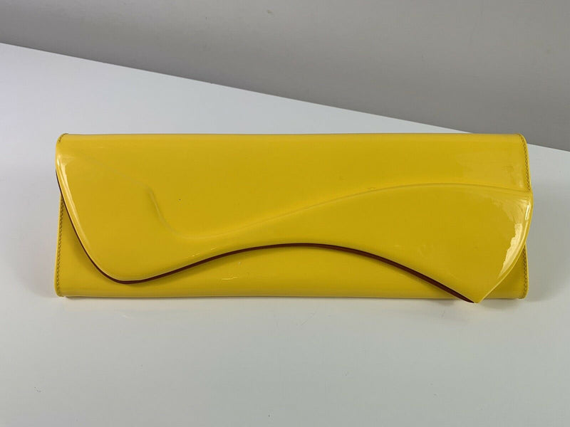 Christian Louboutin Pigalle Yellow Patent Clutch Bag