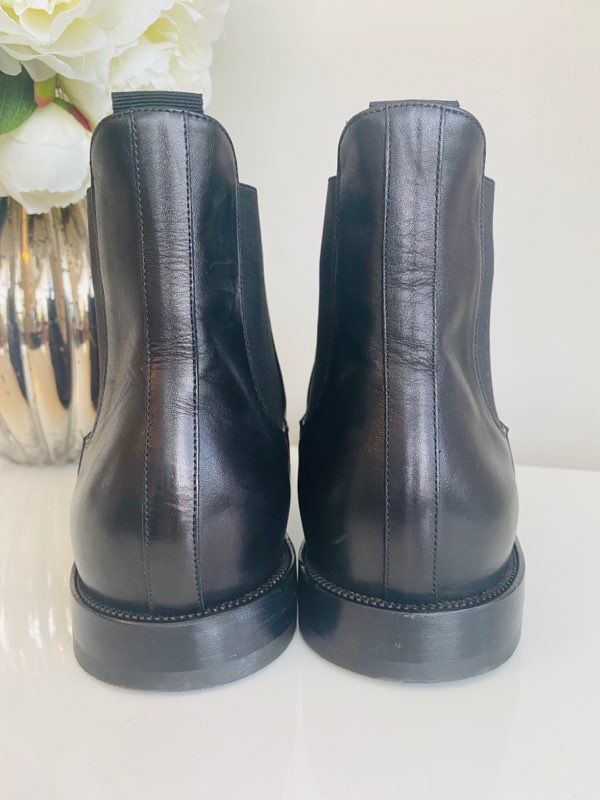 Christian Louboutin Jesse Chelsea Ankle Boots Black Leather Mens 42