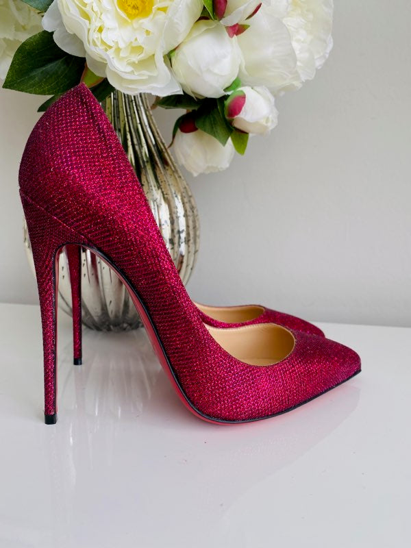 NEW Christian Louboutin Pigalle Follies 120 Glitter Tisse Cassis Pink Pumps 40
