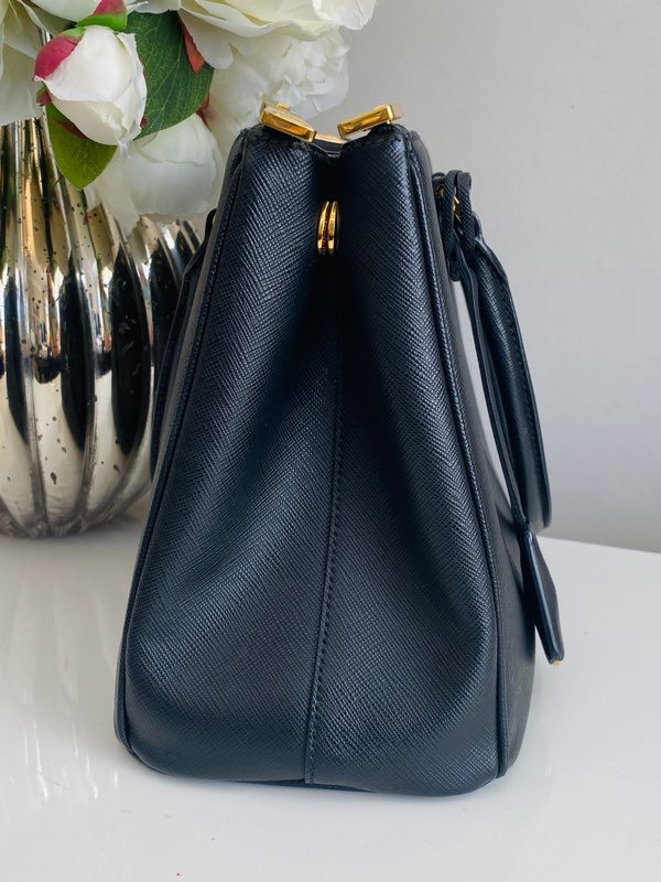 Prada Galleria Small Black Saffiano Leather Shoulder Handbag