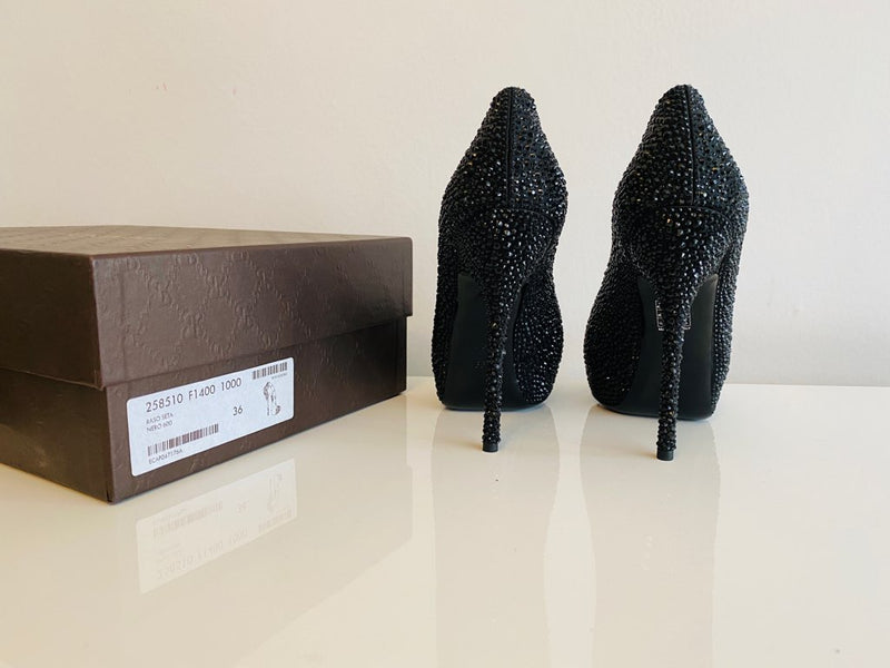 NEW Gucci Sofia Etoile 140 Satin Strass Crystal Black Peep Toe Pumps 36