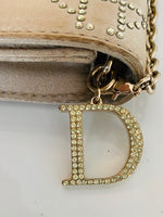 Christian Dior Metallic Satin Cannage Flap Clutch Champagne Gold