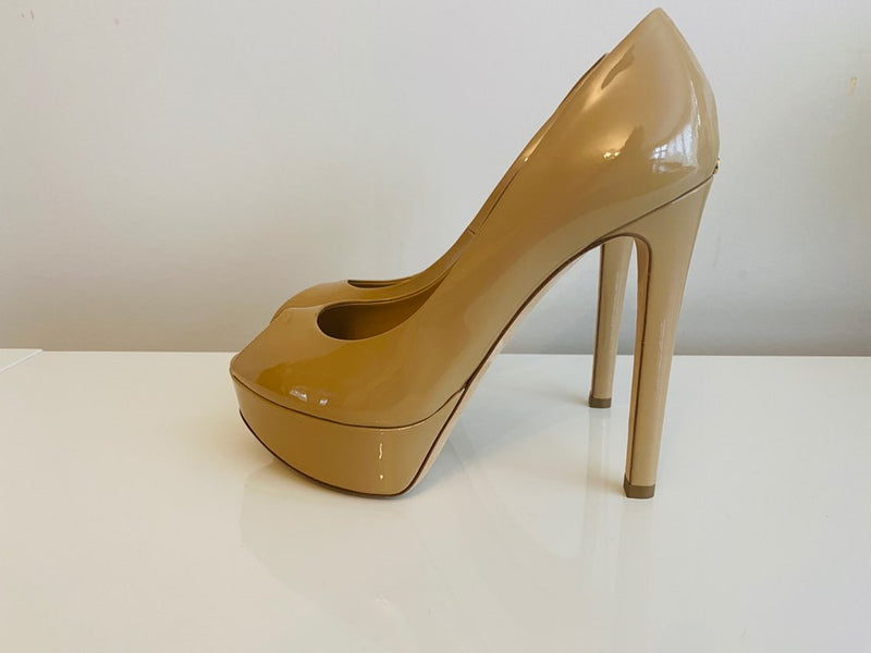NEW Christian Dior 120 Nude Patent Leather Open Toe Pumps 36