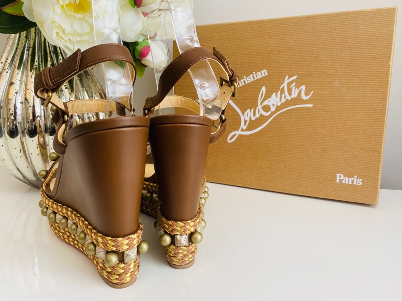 Christian Louboutin Cataconico 120 Embellished Leather Wedge Sandals Brown 41