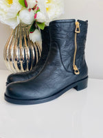 NEW Jimmy Choo Dondo 40 Gold Zip Black Leather Boot 41.5