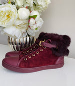Louis Vuitton Punchy Burgundy Suede Sneaker Fur High Top Boot 40