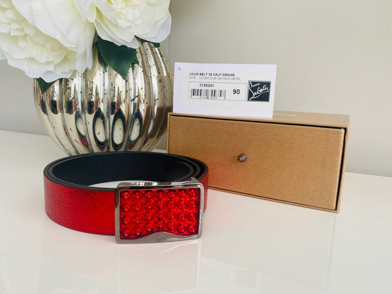 NEW Christian Louboutin Louis Belt 35 Red Grain Gun Metal Spikes