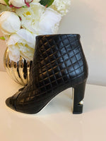 Chanel Quilted Peep Toe Ankle Booties 85 Black Leather Pearl Block Heel 37.5