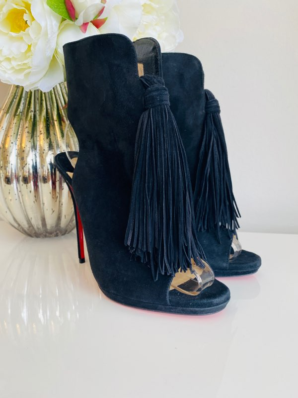 NEW Christian Louboutin Ottocarl 120 Black Suede Fringe Heel Booties 38