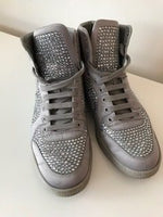 Gucci Coda Satin Effect Crystal High-Top Trainers Grey 39.5