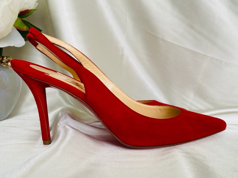 Christian Louboutin Apostrophy Sling 85 Red Suede Pumps 38