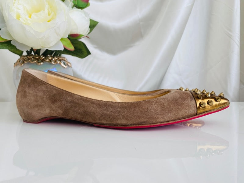 Christian Louboutin Geo Grey Suede Gold Leather Spiked Ballet Flats 39