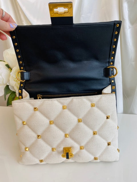 Valentino Rockstud Candystud Top Handle Cream Canvas Black Leather Bag