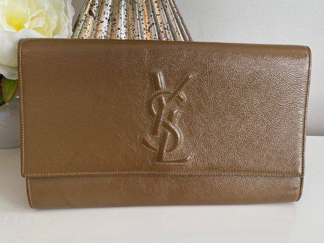 YSL Yves Saint Laurent Dark Beige Leather Monogram Large Belle De Jour Clutch