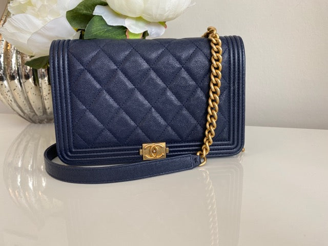 Chanel Quilted Grained Leather Boy Wallet On Chain WOC Navy Gold Hardware