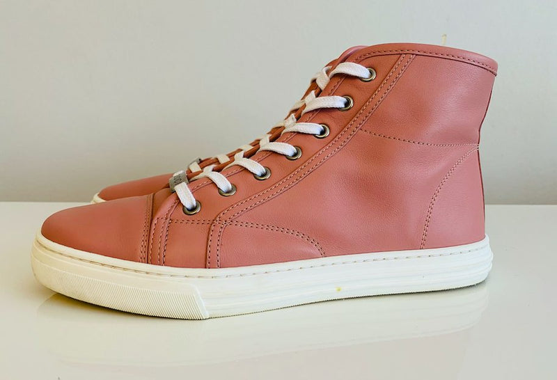 Gucci Pink Leather High Top Sneakers 38