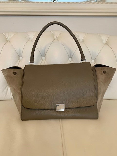 Celine Trapeze Bag Grey Grained Leather and Suede Large