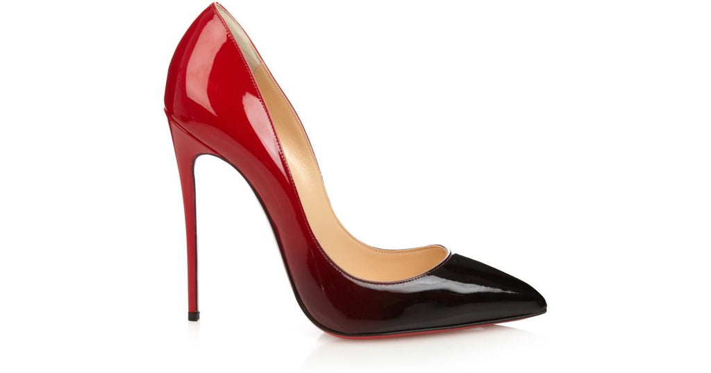 Christian Louboutin Pigalle Follies 120 Black / Red Patent Leather Pumps 36