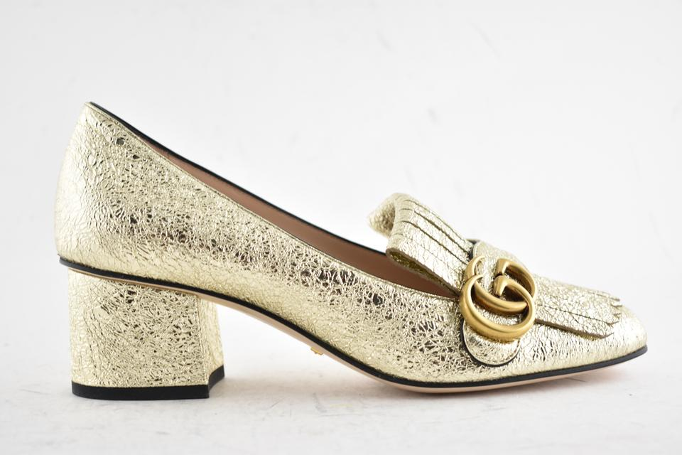 NEW Gucci Galassia 55 Marmont GG Crackle Gold Fringe Block Heel Mule Loafer Pumps 36.5