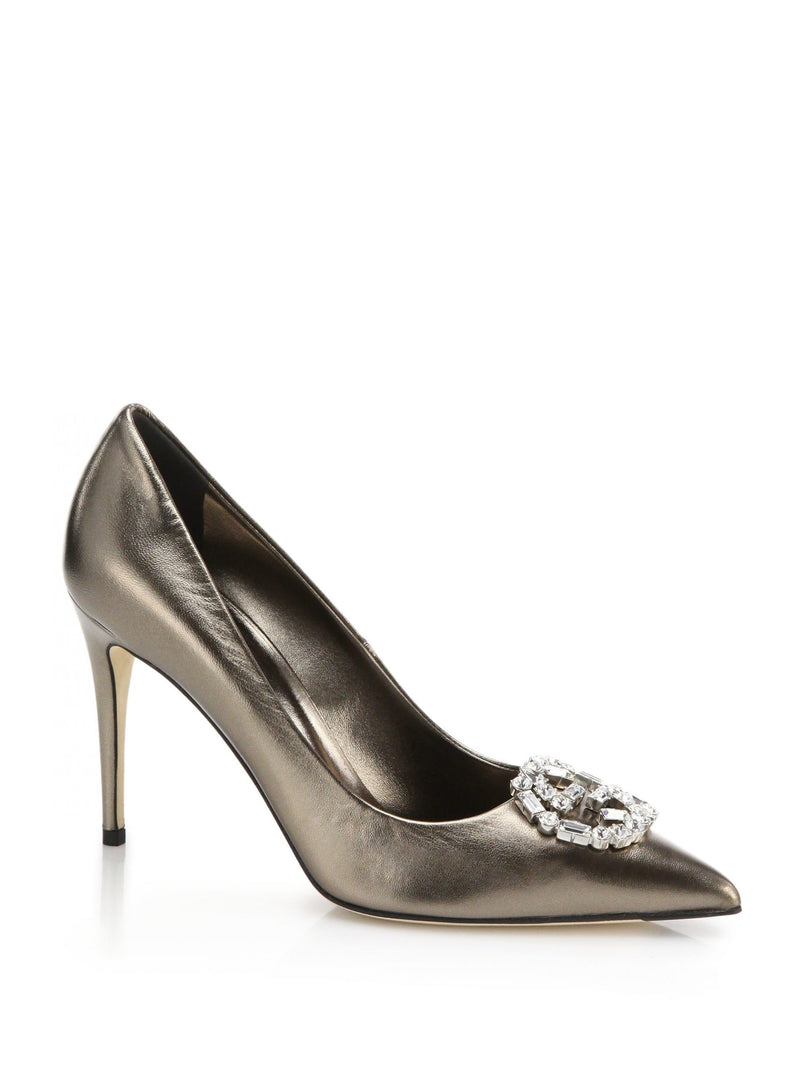 NEW Gucci 100mm GG Crystal Bronze Metallic Pointed Toe Leather Pumps 39