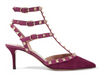 NEW Valentino Rockstud 70 Purple Leather Ankle Strap Pumps 39