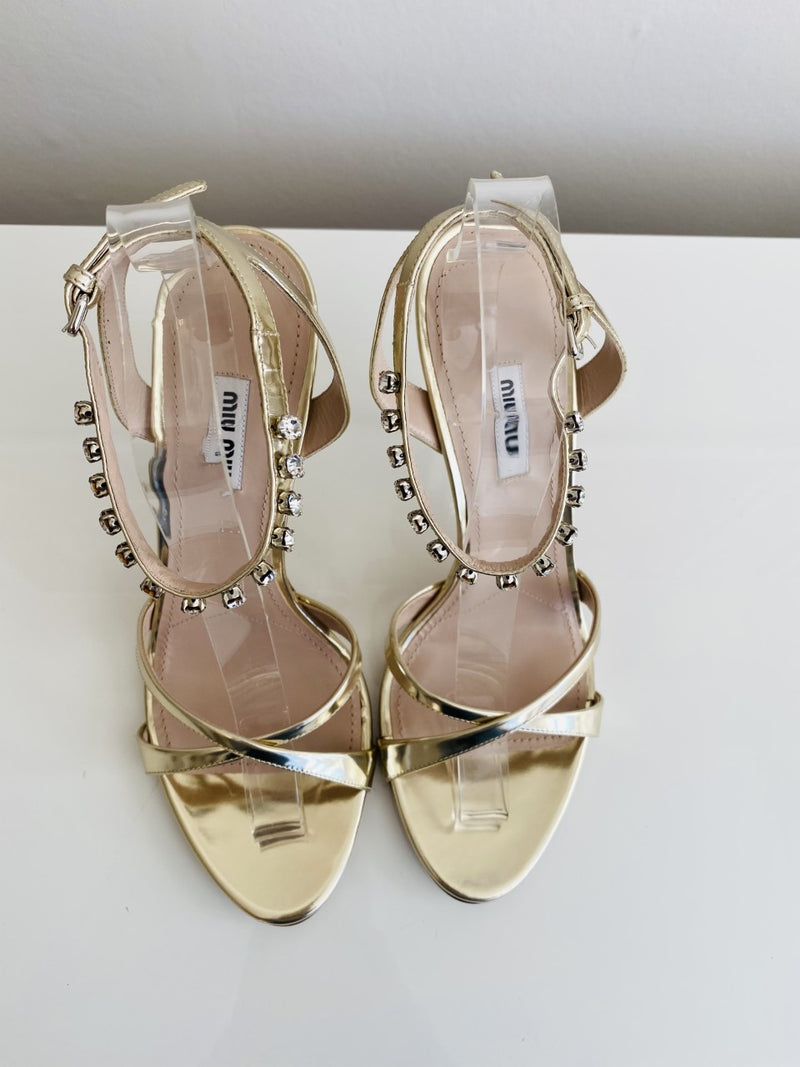 NEW Miu Miu Calzature Donna 110 Metallic Gold Crystal Strap Sandal Pumps 41