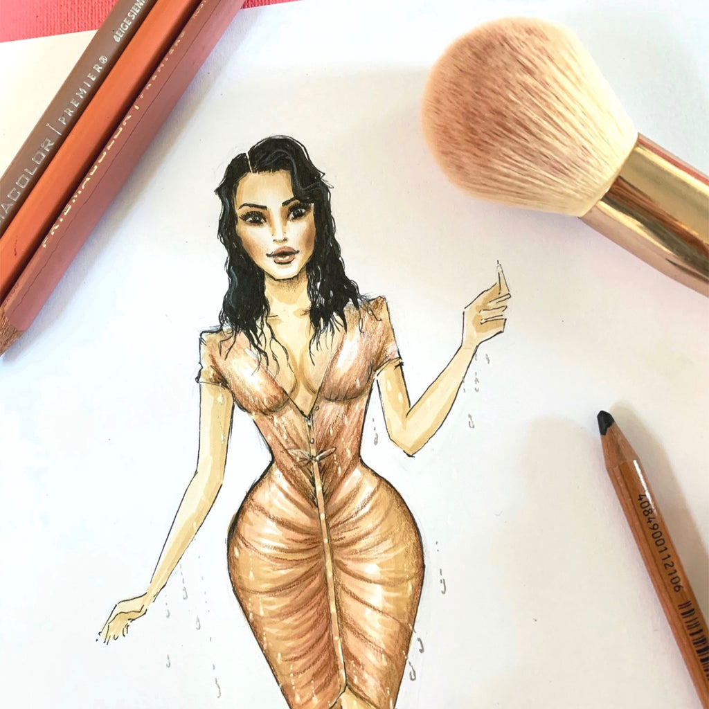 Kim Kardashian Met Gala fashion illustration Sarah Darby